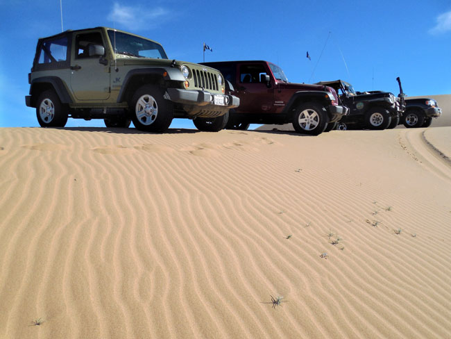 A line of Jeeps